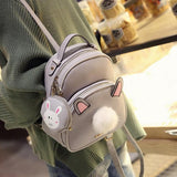 Grey/Black Fluffy Bunny Backpack SP1710032
