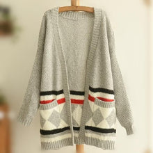 Load image into Gallery viewer, Grey/Black Mori Girl Long Sleeve Cardigan Sweater Coat SP153456 - SpreePicky  - 4