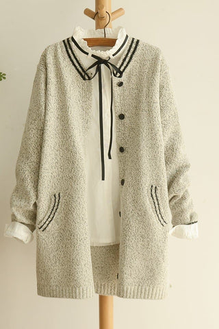 Grey/Black Mori Girl Long Sleeve Cardigan Sweater Coat SP153462 - SpreePicky  - 10