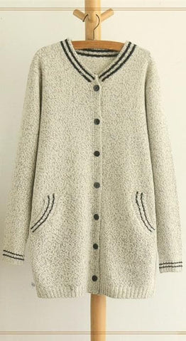Grey/Black Mori Girl Long Sleeve Cardigan Sweater Coat SP153462 - SpreePicky  - 11