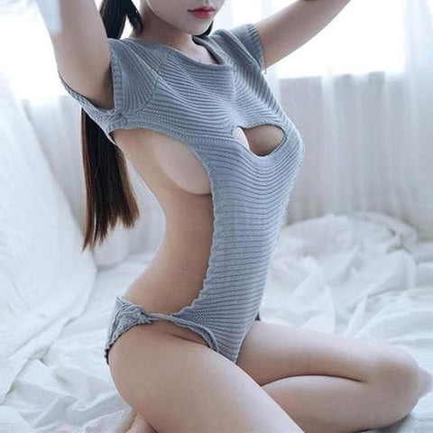 Grey/Blue Chest Hollow Out Virgin Killer Sweater 2.0 SP1812121