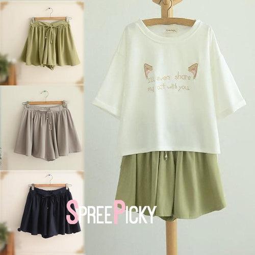 Grey/Green/Navy Sweet Loose/Tight Laced Pantskirt SP179224