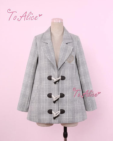 Grey/Navy Grid Preppy Style Woolen Coat SP1711387