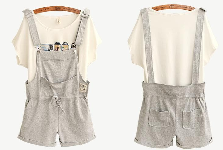 Final Stock! Grey One Piece Suspender Shorts SP166955