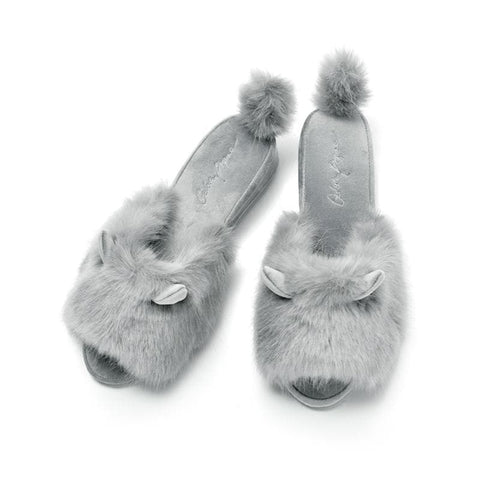 Grey/Pink Cute Fluffy Bunny Slippers SP1812078