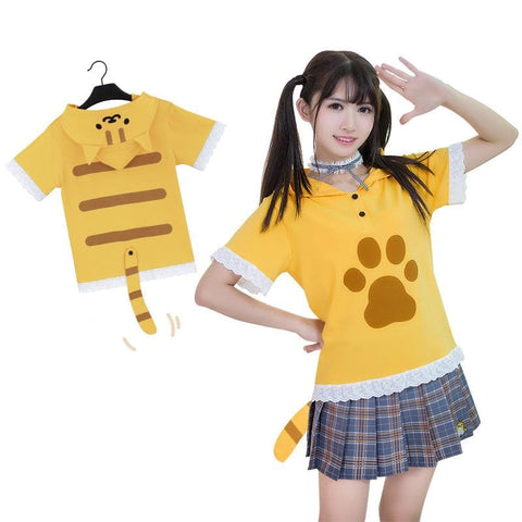 Grey/Yellow Neko Atsume Lace Hoodie Shirt SP179685