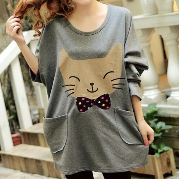 Grey/Yellow Oversized Kawaii Cat Printing Shirt SP168435