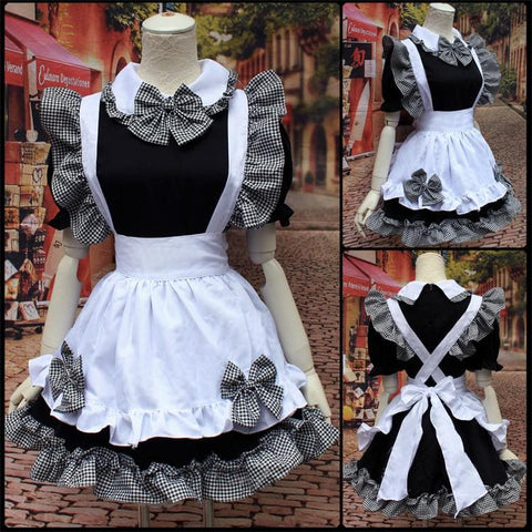Grey Black Dress Maid Cosplay Costume SP153600 - SpreePicky  - 4