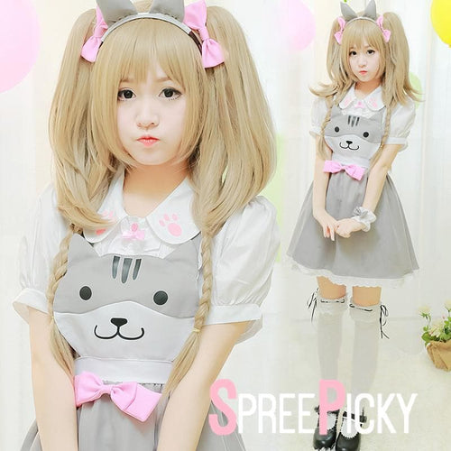 Grey [Neko Atsume] Two-Piece Set Suspender Skirt Top SP179245