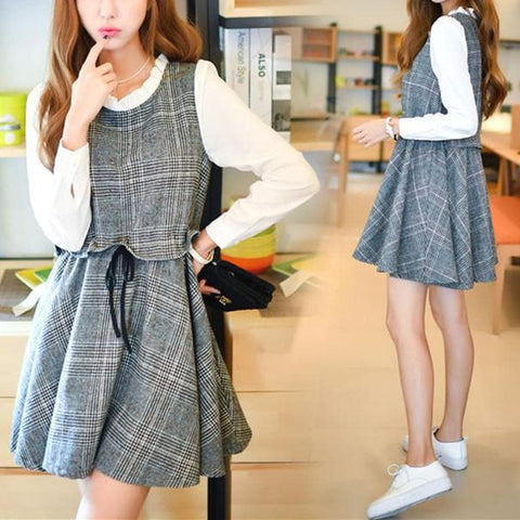 Grey Preppy Style Plaid Dress SP178834