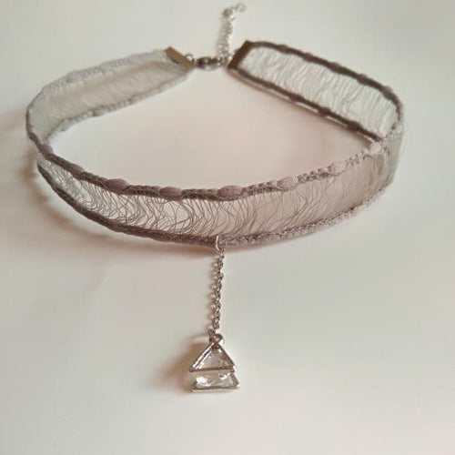 Grey Temperament Lace Choker SP1811904