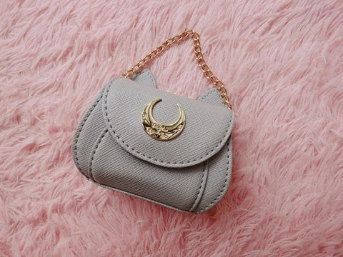 Grey/White/Black Sailor Moon Luna/Artemis/Diana Coin Purse SP166093