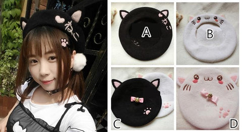 Hand Made Kawaii Neko Berets Cap SP153328 - SpreePicky  - 1
