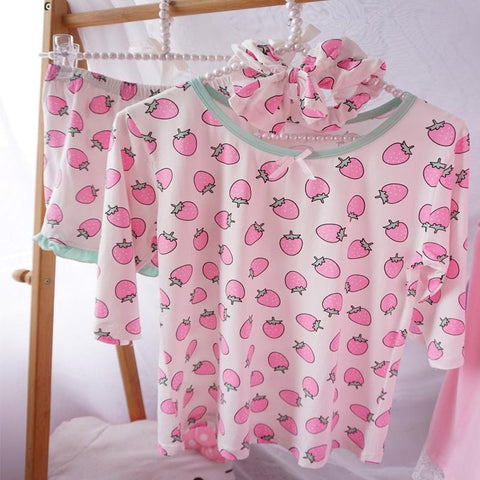Harajuku Kawaii Poached Egg/Strawberry Homewear SP166609