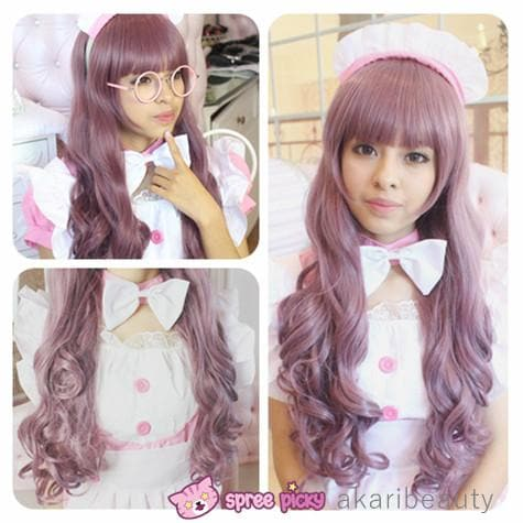 Harajuku Lolita Cosplay Dark Purple Curly Long Wig 27INCH SP130005 - SpreePicky  - 1