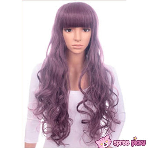 Harajuku Lolita Cosplay Dark Purple Curly Long Wig 27INCH SP130005 - SpreePicky  - 3