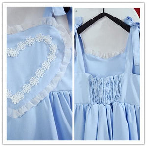 Pink/Blue Heart Shape Strape Maid Dress SP140919 - SpreePicky  - 7