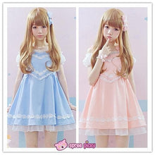 Load image into Gallery viewer, Pink/Blue Heart Shape Strape Maid Dress SP140919 - SpreePicky  - 1