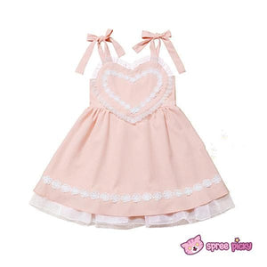 Pink/Blue Heart Shape Strape Maid Dress SP140919 - SpreePicky  - 3