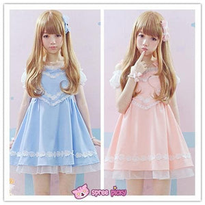 Pink/Blue Heart Shape Strape Maid Dress SP140919 - SpreePicky  - 1