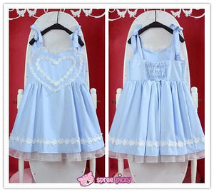 Pink/Blue Heart Shape Strape Maid Dress SP140919 - SpreePicky  - 5