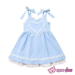 Pink/Blue Heart Shape Strape Maid Dress SP140919 - SpreePicky  - 2