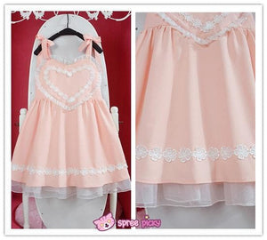 Pink/Blue Heart Shape Strape Maid Dress SP140919 - SpreePicky  - 6