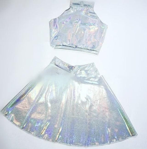 Hologram Laser Costume Retro Vest Top/Skirt SP167404