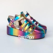 Load image into Gallery viewer, Holographic Rainbow Strappy Sandals SP1710374