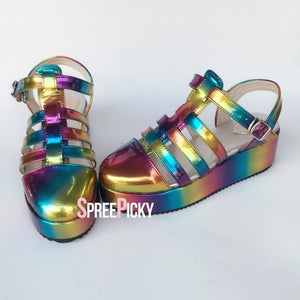 Holographic Rainbow Strappy Sandals SP1710374