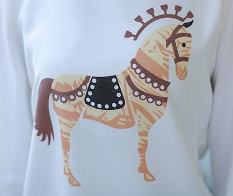 S-XL Horse Printing Long sleeves T-Shirt + Skirt Set SP152623 - SpreePicky  - 4