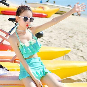Hot Pink/Green/Pink Pastel Falbala Two-Piece Swimsuit SP1812157