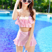 Load image into Gallery viewer, Hot Pink/Green/Pink Pastel Falbala Two-Piece Swimsuit SP1812157
