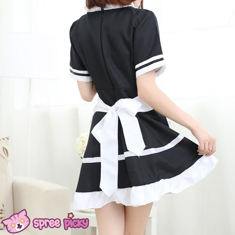 [Size S- 3XL] J-Fashion Black/White Caff Maid Dress with Apron and Hair Band SP151648 - SpreePicky  - 4