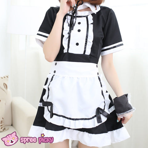 [Size S- 3XL] J-Fashion Black/White Caff Maid Dress with Apron and Hair Band SP151648 - SpreePicky  - 2
