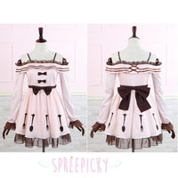 J-fashion Lolita Pink Tea Party Folks Off Shoulder Long Sleeve Dress SP140702 - SpreePicky  - 1