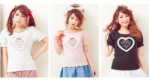 Japanese Cute Round Neck Dolly Tee Shirt SP153042