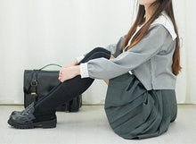 Load image into Gallery viewer, Japanese Grey Sailor Uniform Top/Skirt SP164936/SP164937 - SpreePicky  - 4