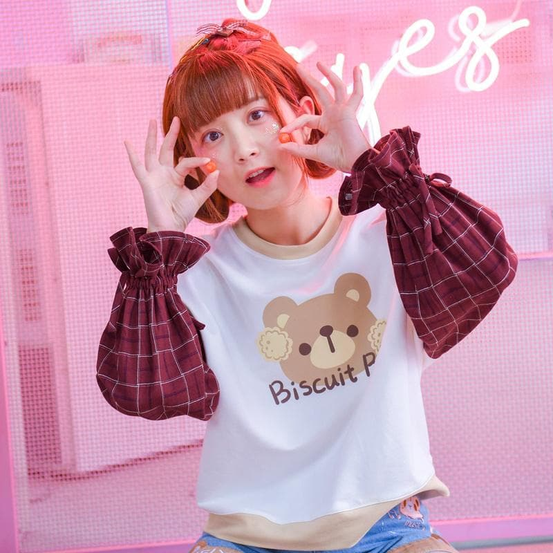 Kawaii Biscuit Bear Grid Sweatshirt SP1811980