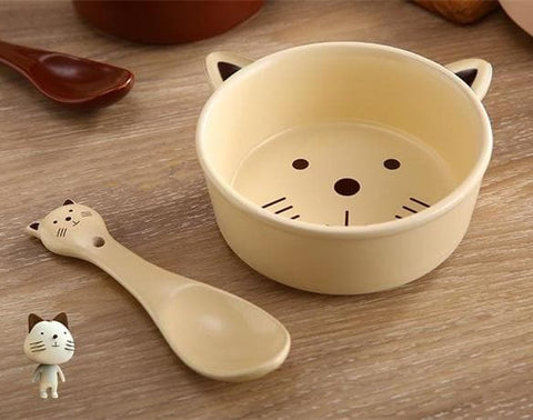 Kawaii Cartoon Ceramic Dining Bowl Spoon SP179164