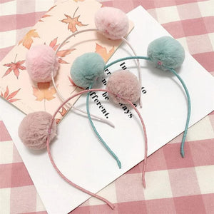 Kawaii Cat Ear Plush Ball Hair Hoop SP1812342