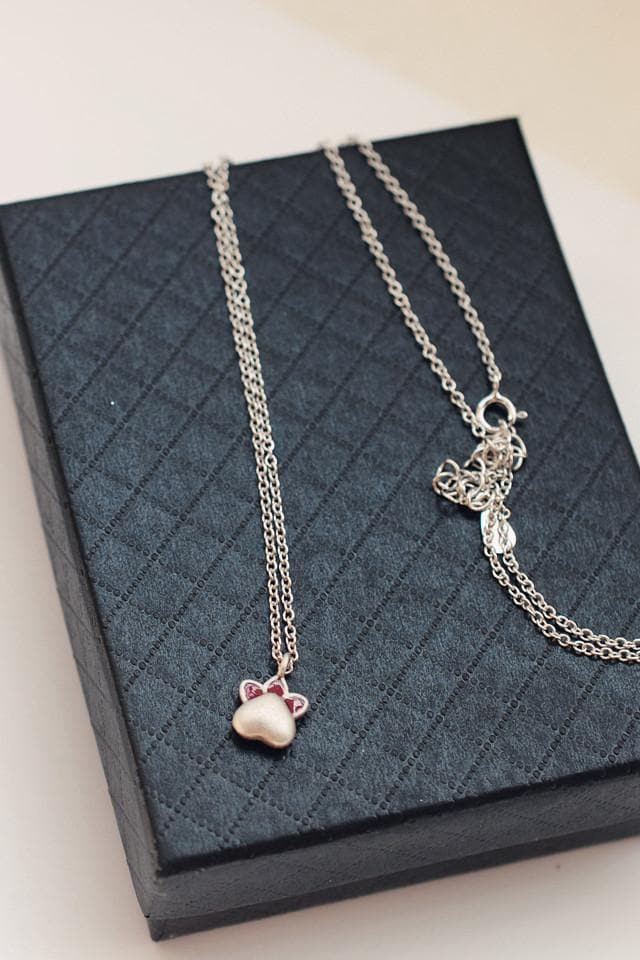Kawaii Cat Paw Silver Necklace/Ring/Earrings SP168492