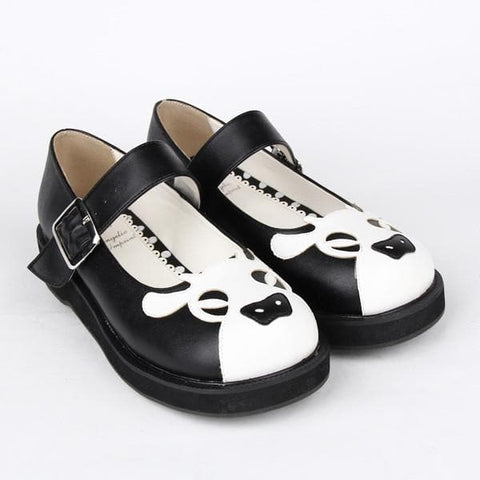 Kawaii Cow Head Lolita Flatform Shoes SP165021