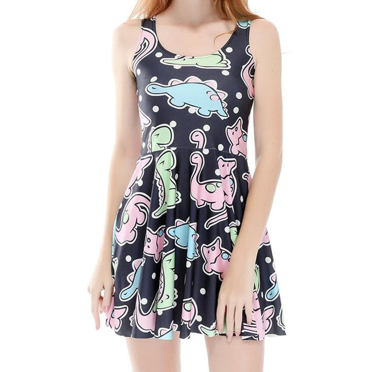 Kawaii Dinosaur Printing Sundress SP1812318