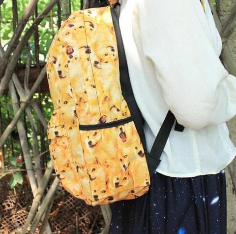 Kawaii Doge Canvas School Backpack SP166210