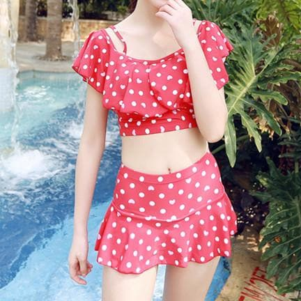 Kawaii Dot Bow Two-Piece Swimsuit SP179241