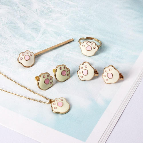 Kawaii Kitty Paw Earrings/Ring/Necklace SP179463