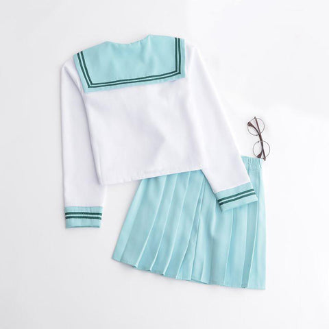 Kawaii Mint Sailor Collar Short Top Skirt Set SP178857