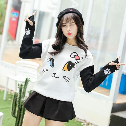 Kawaii Neko Cat Fleece Sweater Jumper SP178846