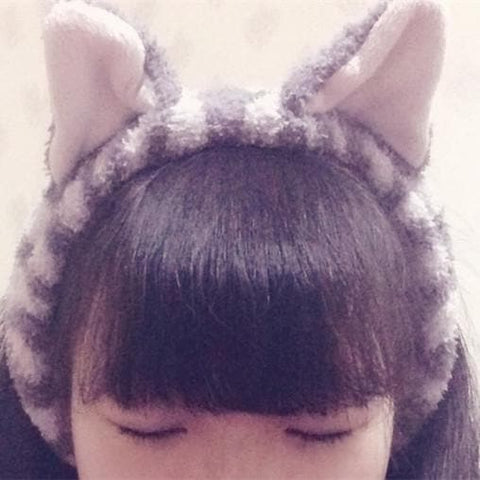 Kawaii Neko Cat Ear Fleece Hair Band For Make Up SP164904 - SpreePicky  - 1